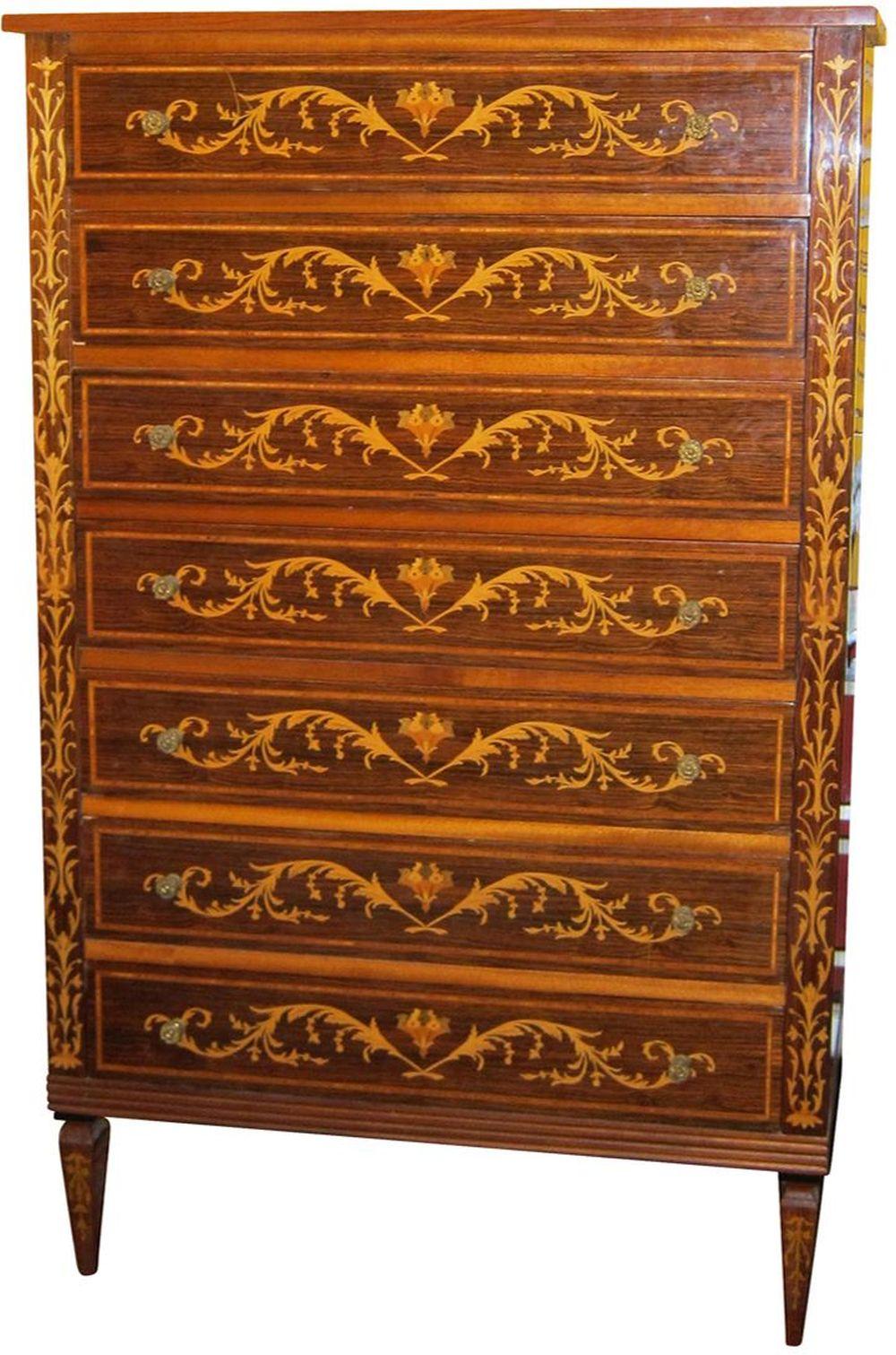 Antique Louis XV-style inlaid semainier