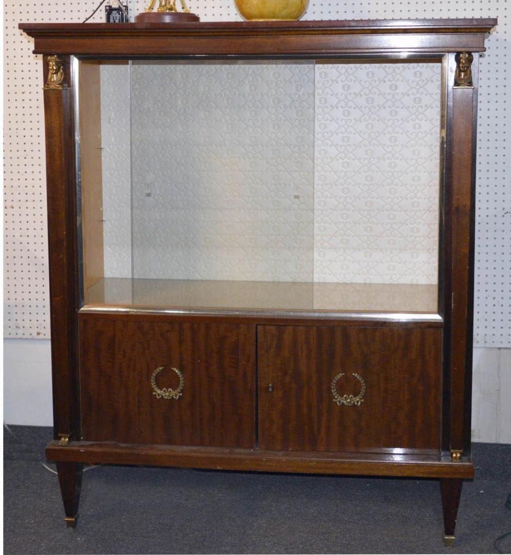 Antique Empire-style mahogany vitrine