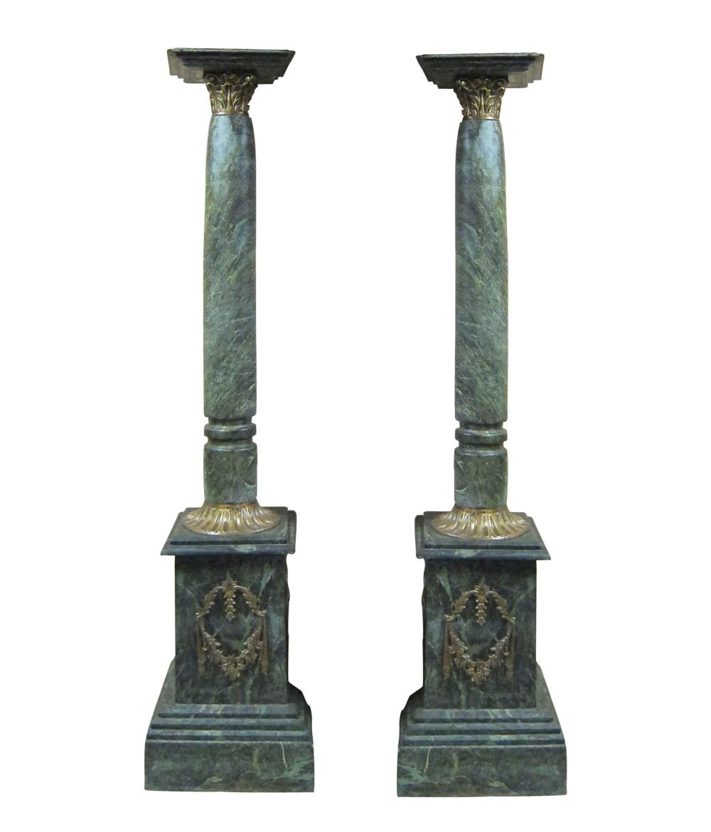 Vintage French green marble columns