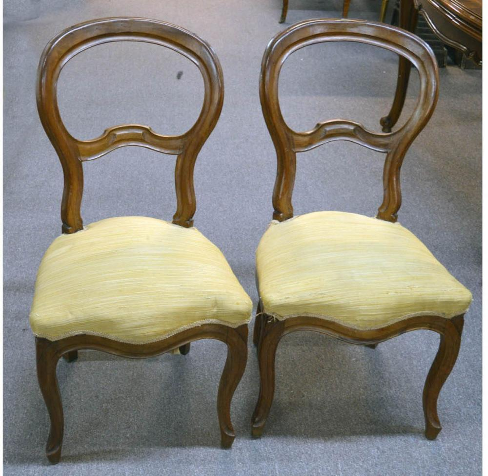 Pair of antique Italian carved side chairs