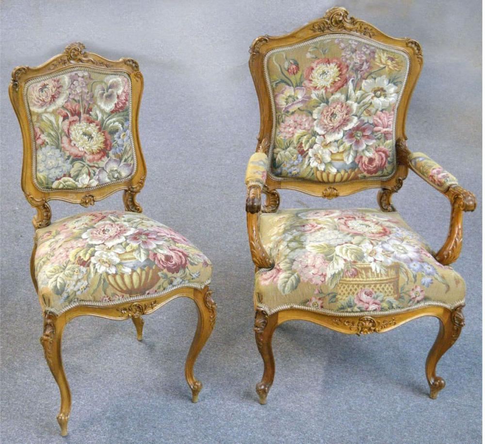 2 antique Louis XV- style chairs
