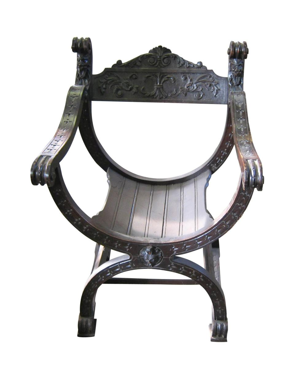 Renaissance-style savonarola armchair