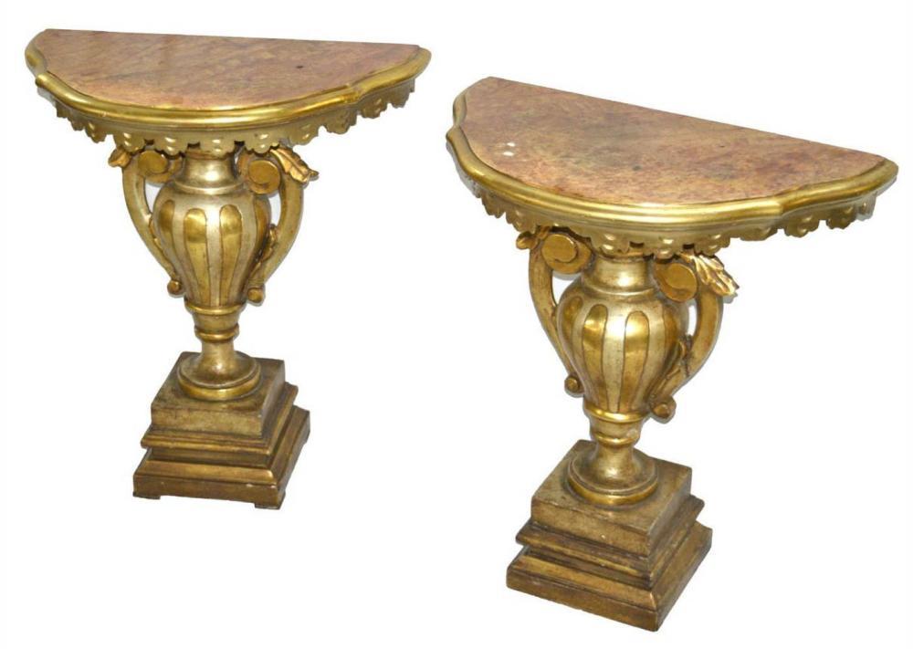 Pair of antique demi-lune consoles