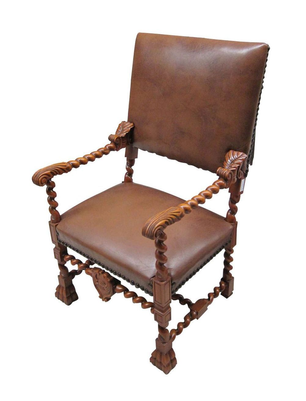 Antique Louis XIII-style leather armchair