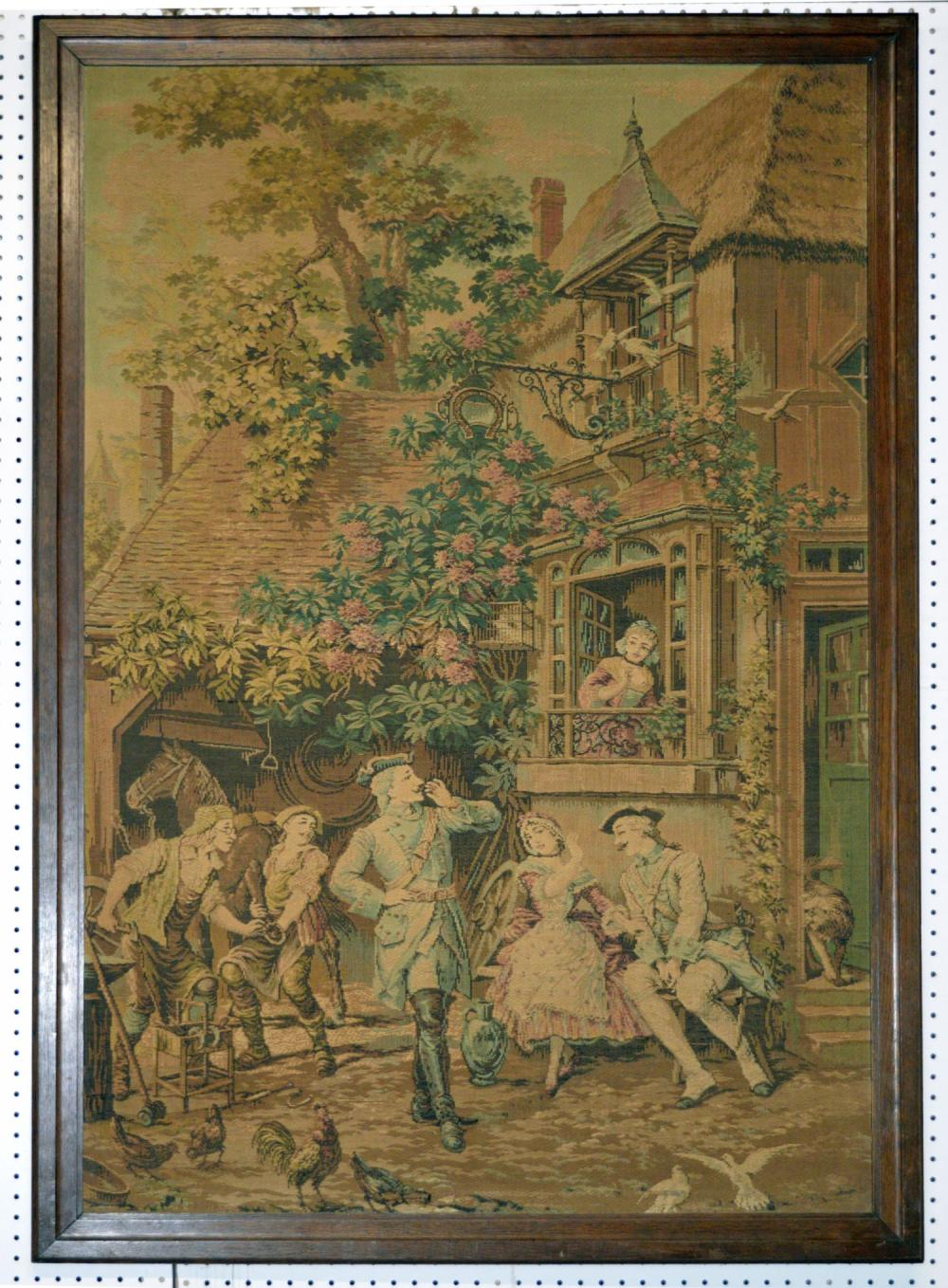 Antique French woven tapestry