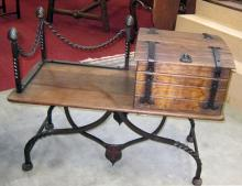Lot 34: French gothic-style oak and iron hall seat