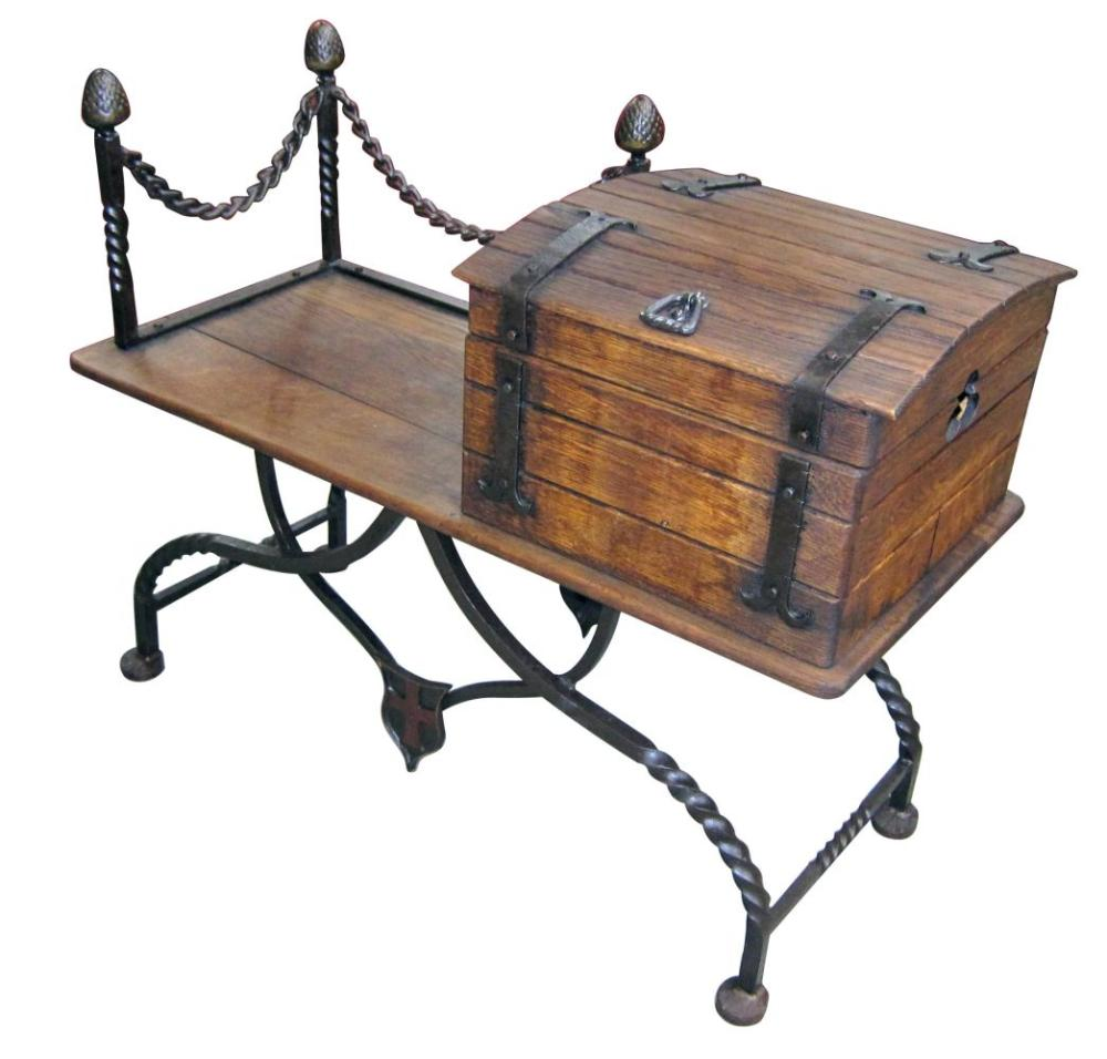French gothic-style oak and iron hall seat
