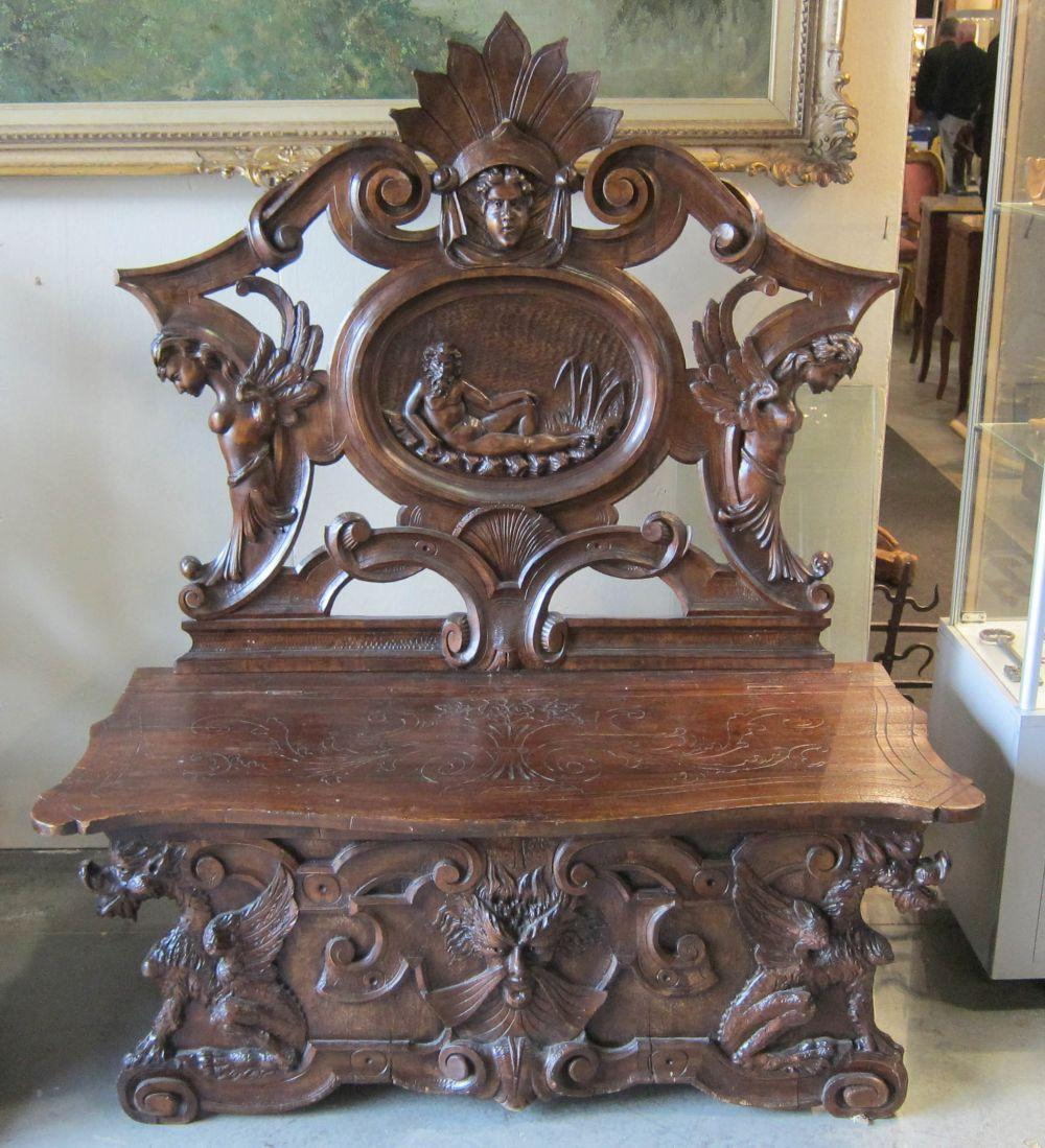 Antique oak hall bench