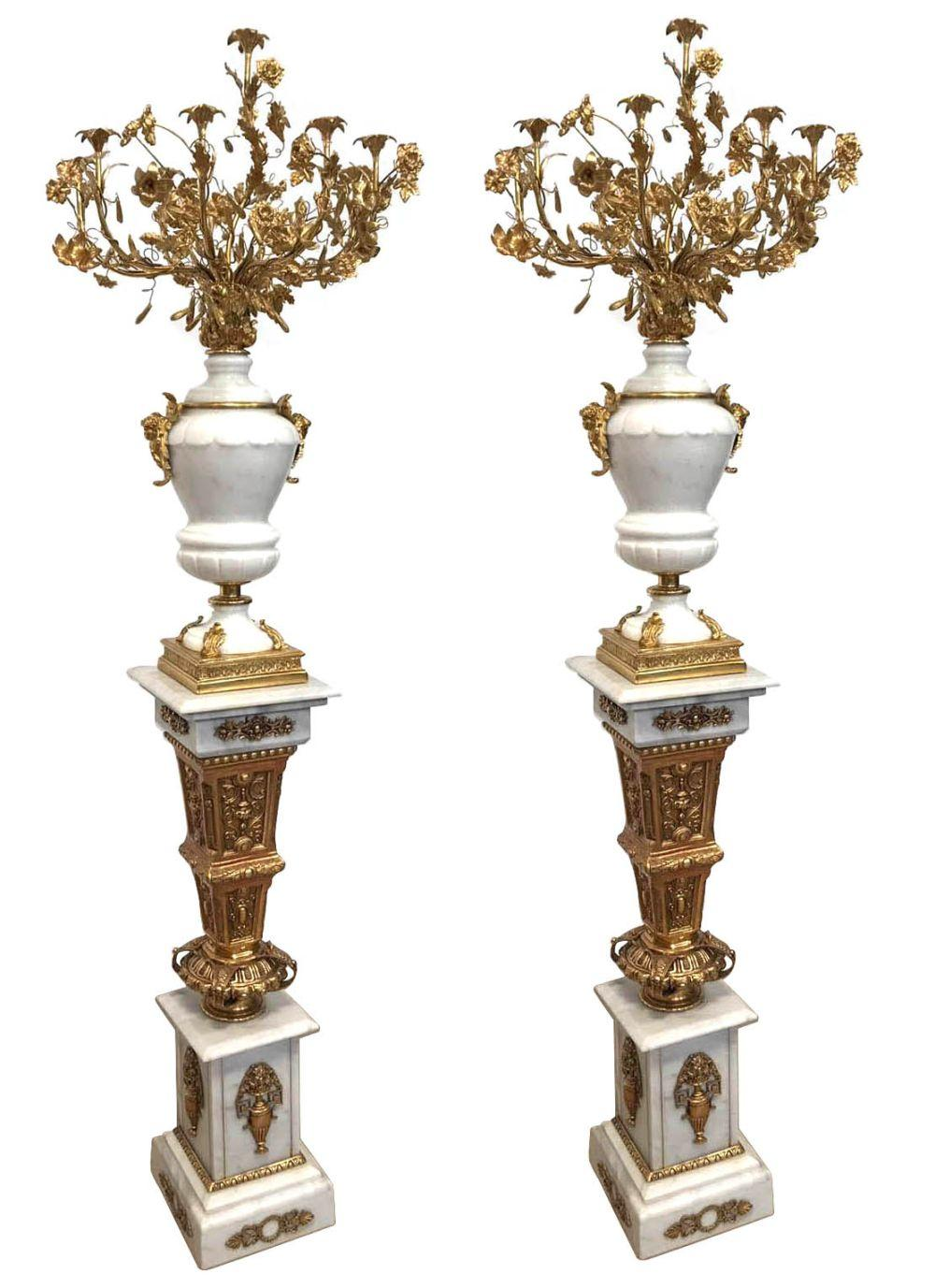 Pair of marble and bronze candelabras