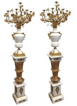 Lot 54: Pair of marble and bronze candelabras
