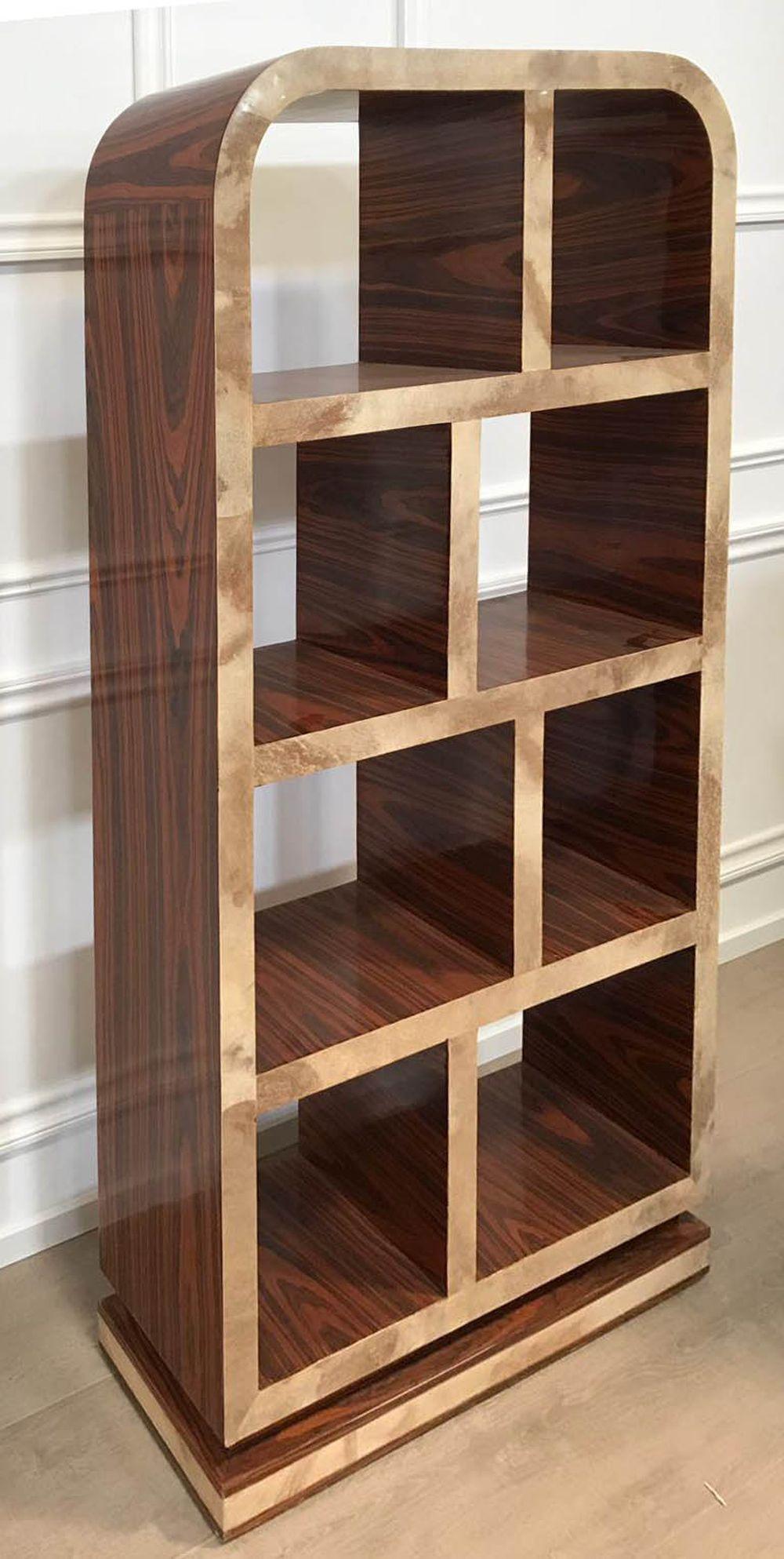 Lot 74: Art Deco style Burlwood open bookcase
