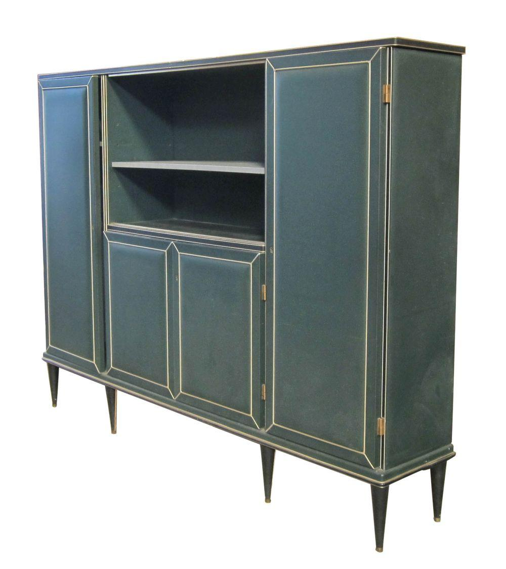 Vintage dark teal leather-clad wall unit