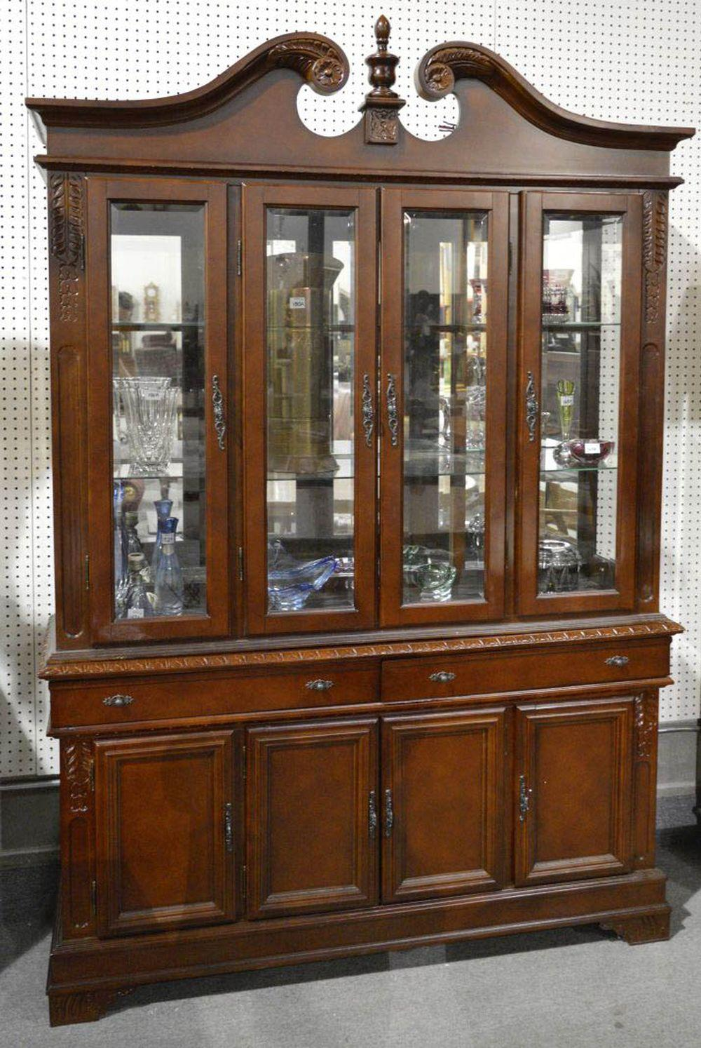 Lot 153: 2-part china cabinet