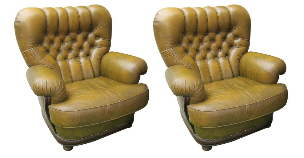 Lot 141: Pair of tufted leather armchairs