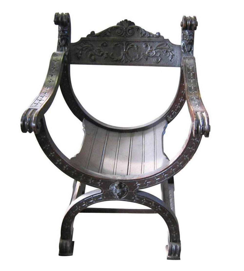Lot 167: Carved savonarola armchair