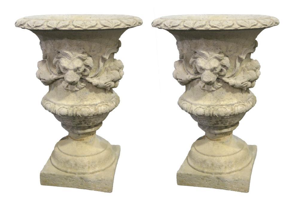 Pair of European stone garden vases