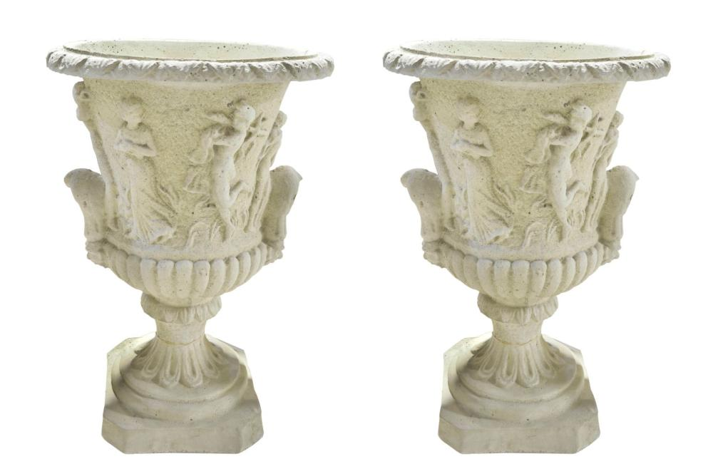 Pair of stone garden urns