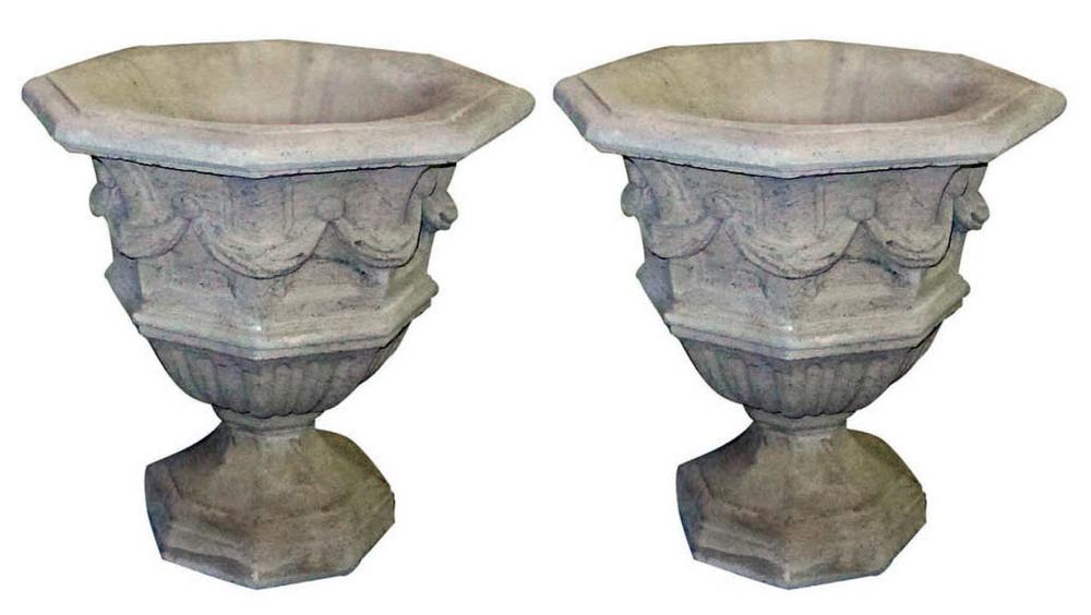 Pair of quartz stone garden urns