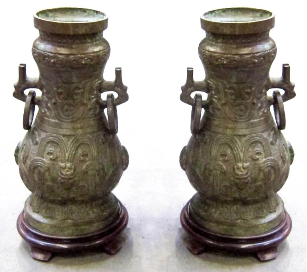 Pair of Chinese bronze urns