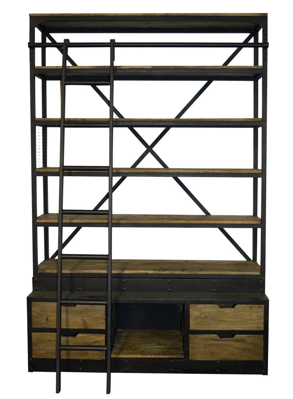 Industrial-style shelf with ladder