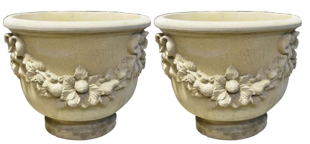 Pair of stone garden vases