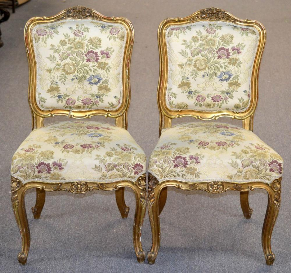 Pair of giltwood shield-back chairs
