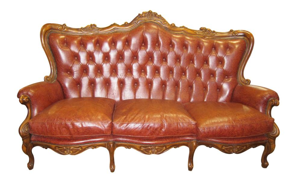 Louis XV-style leather sofa