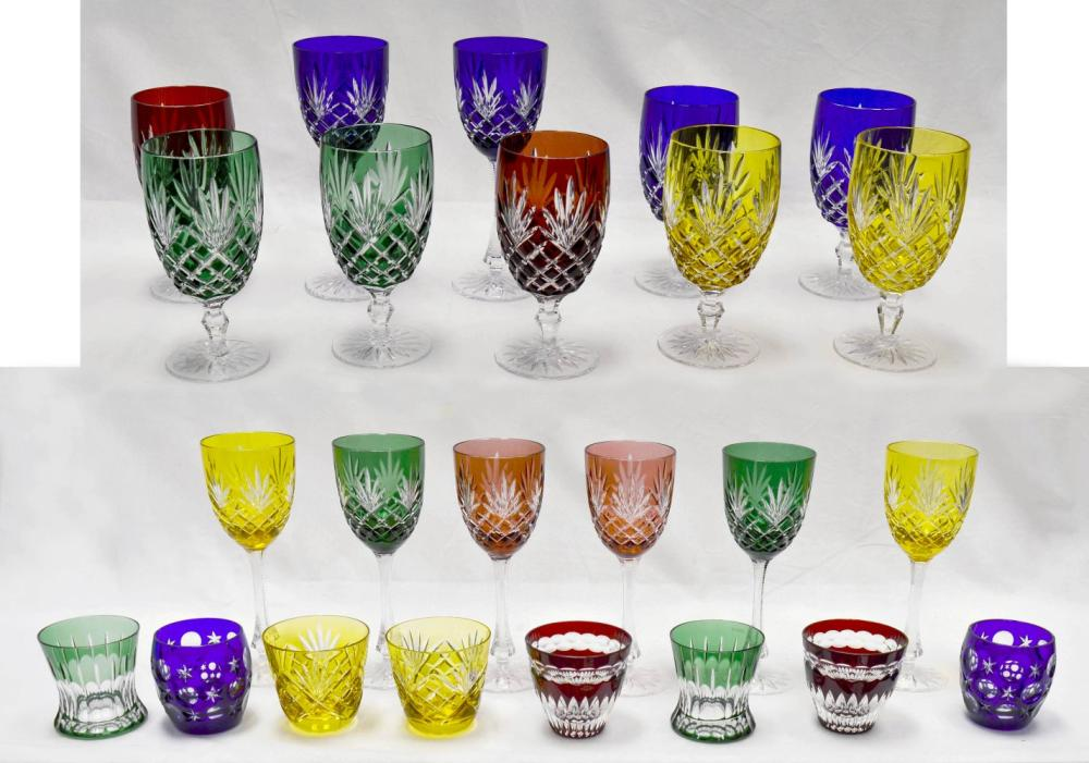 Coloured Fabergé crystal stemware 24 pcs
