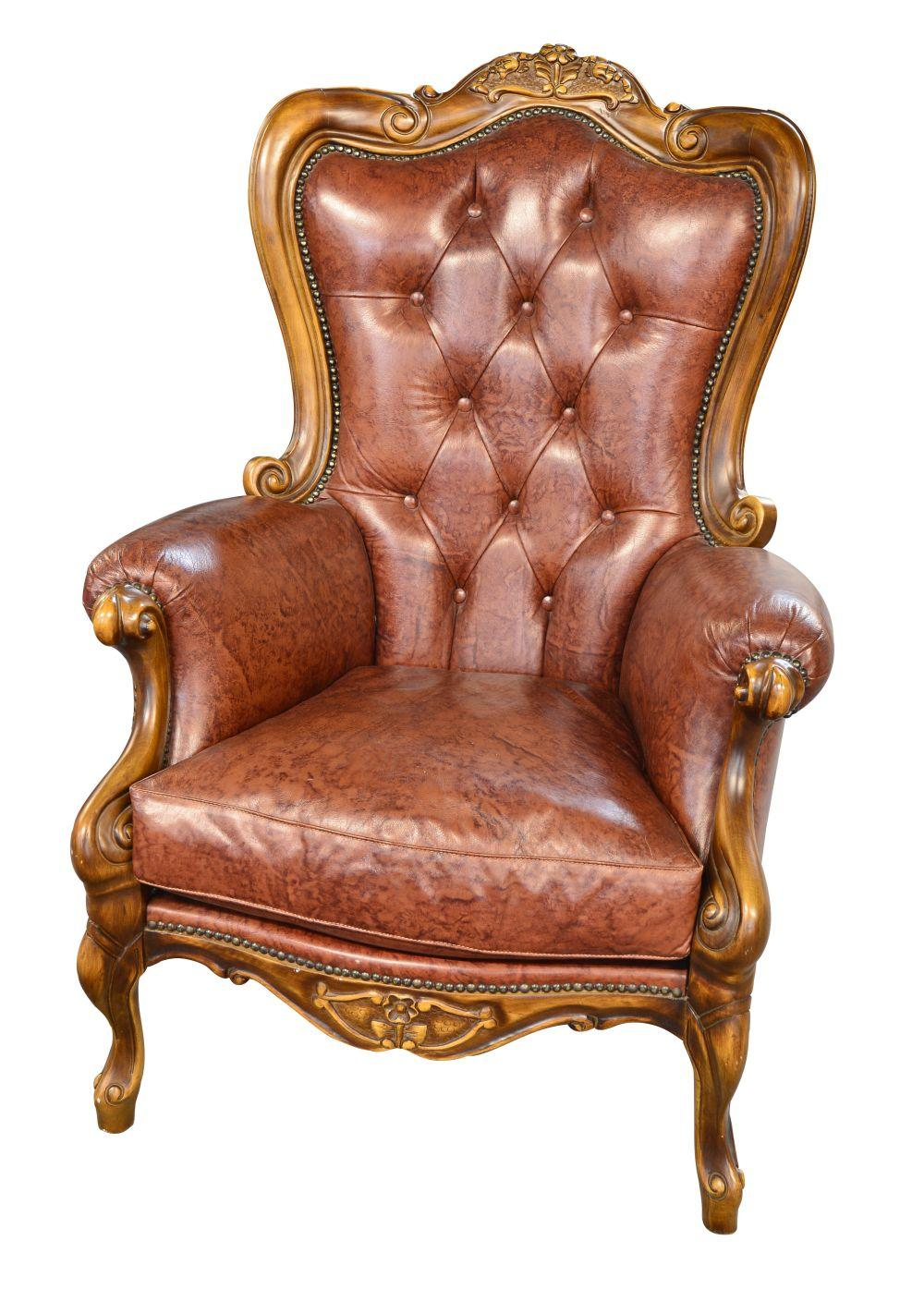 Louis XV-style leather armchair