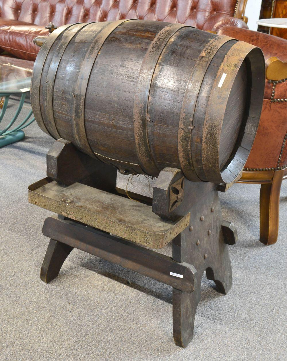 Oak wine barrel on stand