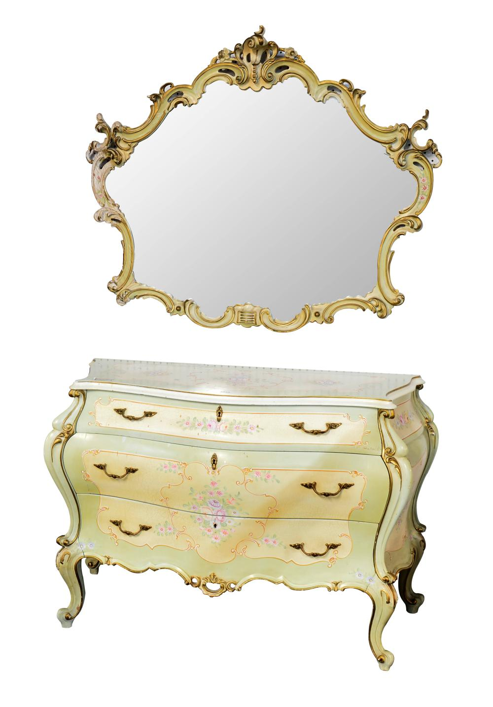 Louis XV- style commode with matching mirror