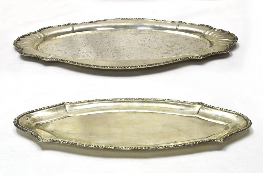 Two 900 fine silver servings trays