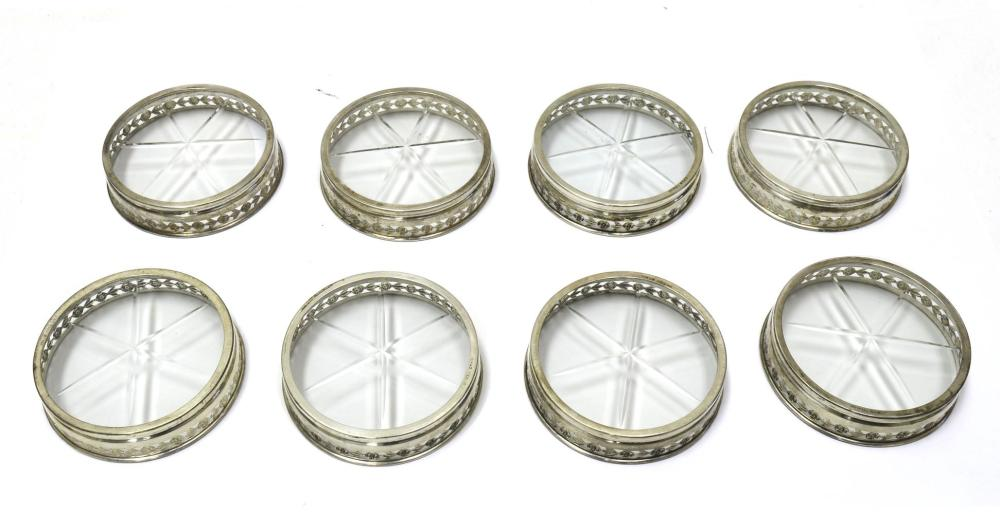 Set of 8 Birks sterling silver coasters