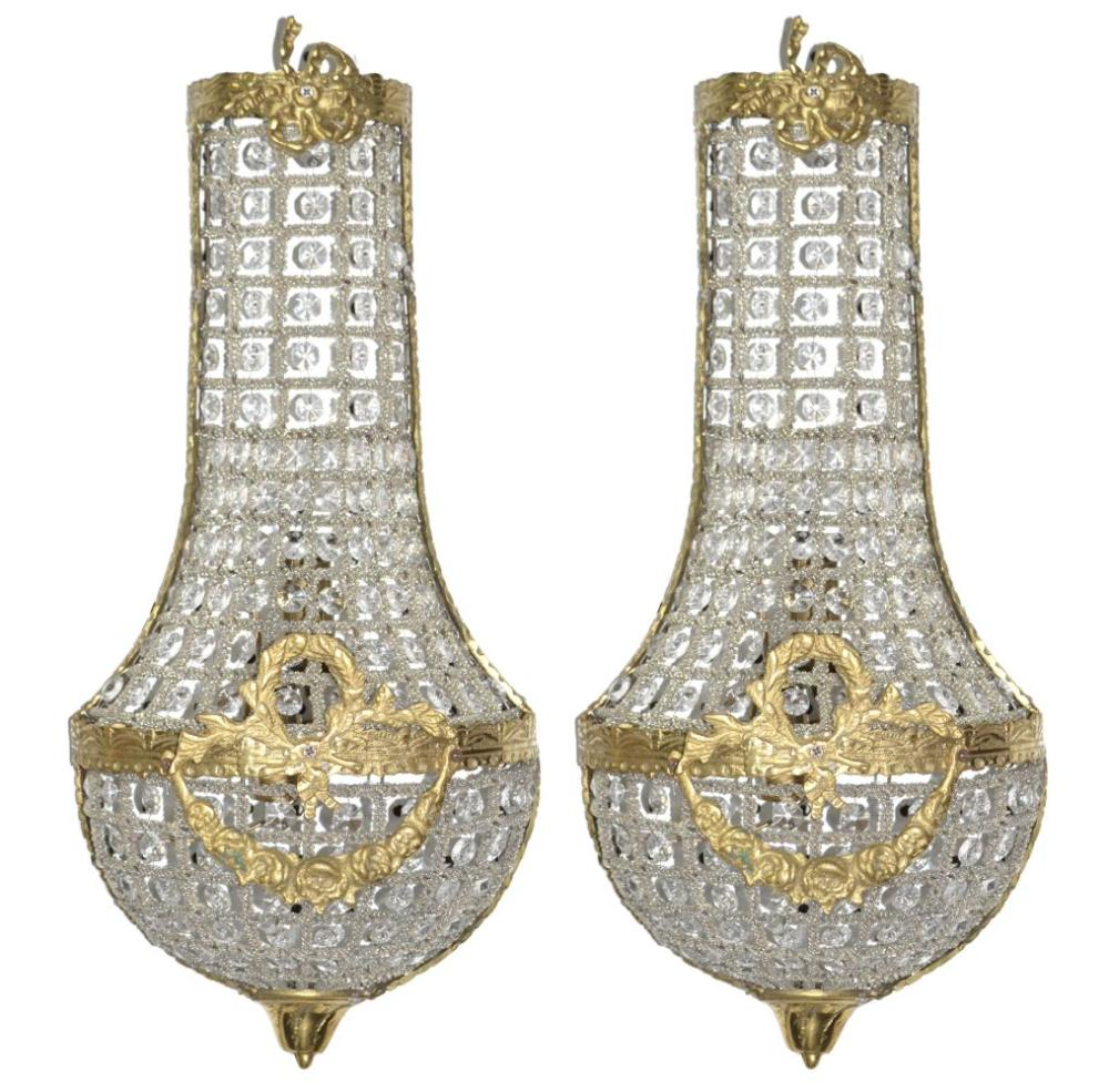 Pair of Louis XVI-style crystal wall sconces