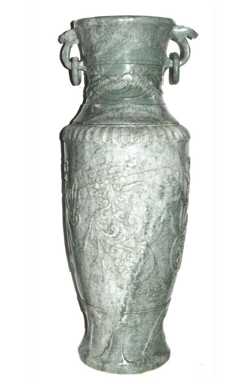 Chinese serpentine baluster-form urn
