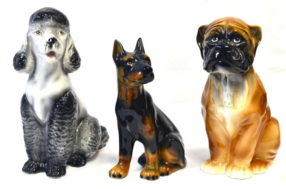 Collection of 3 ceramic dogs