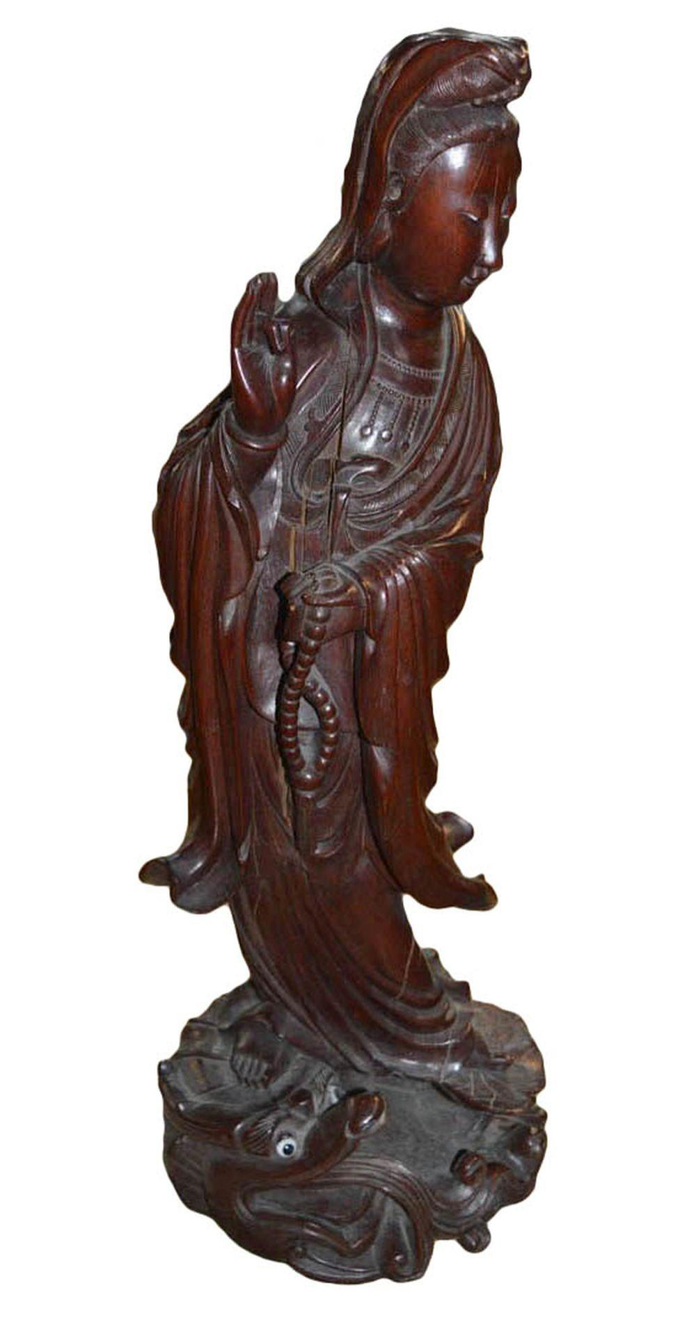 Antique Chinese solid rosewood sculpture