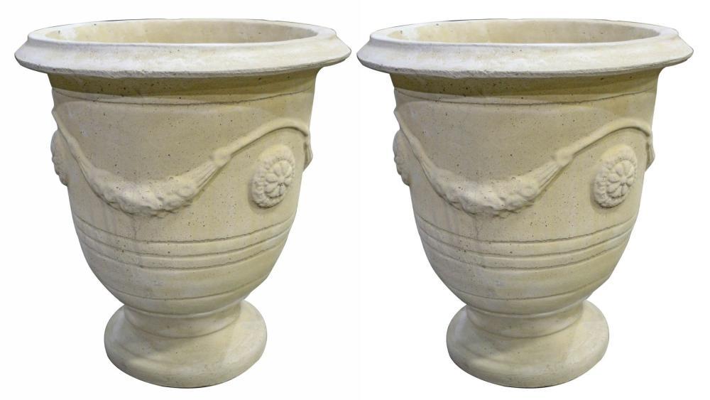 Pair of European quartz stone garden vases