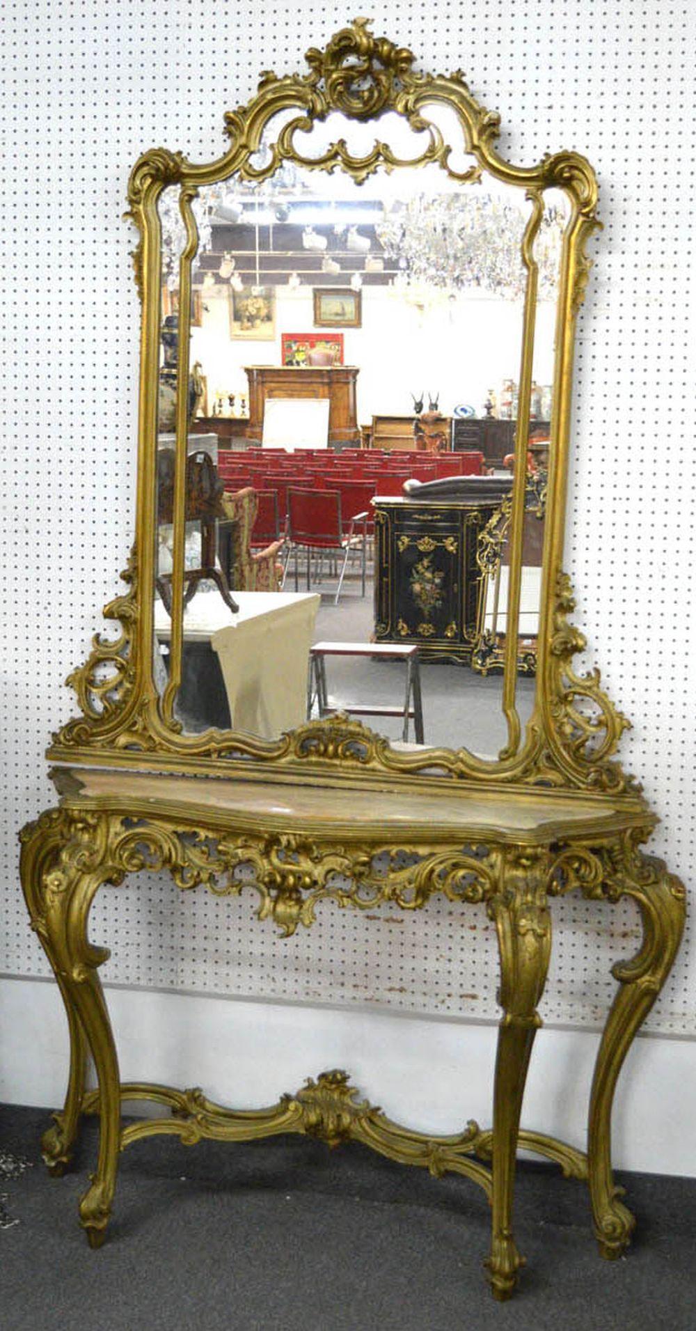 Rococo console and mirror