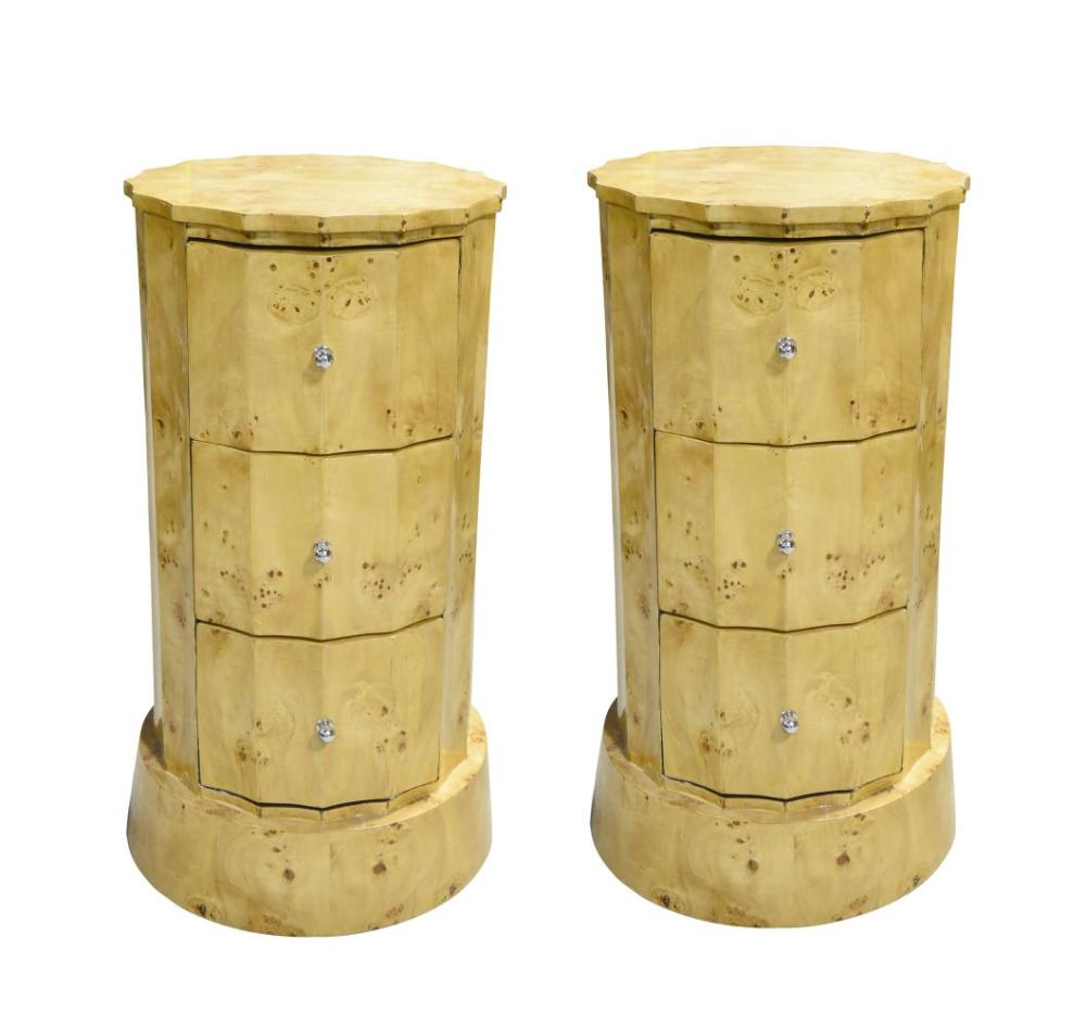 Pair of antique cylindrical side tables