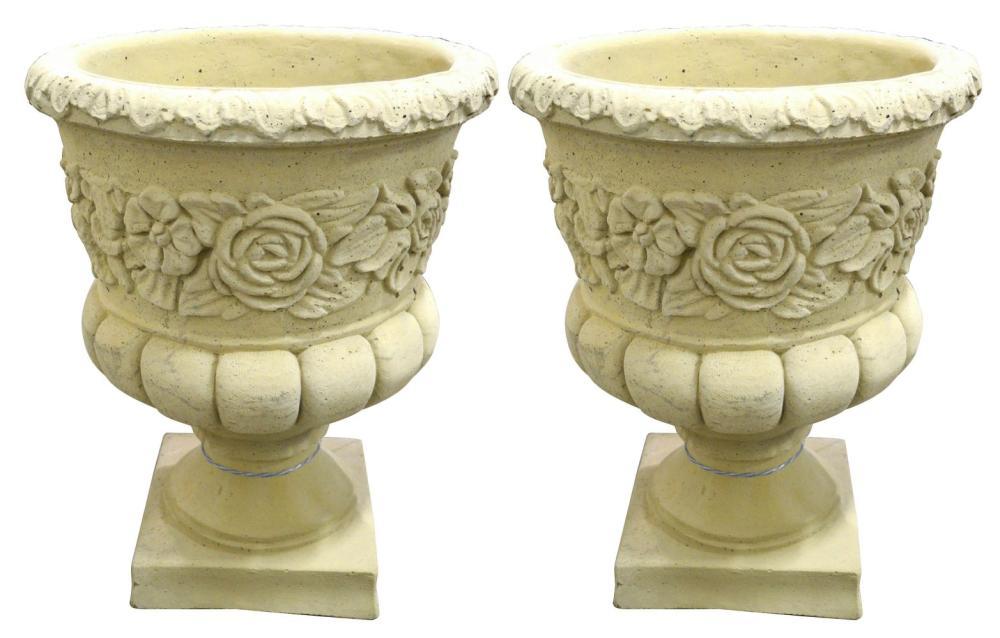 Pair of stone garden urns