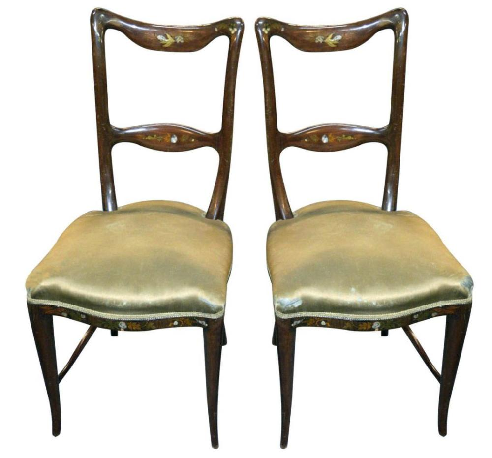 Pair of Art-Nouveau-style slipper chairs