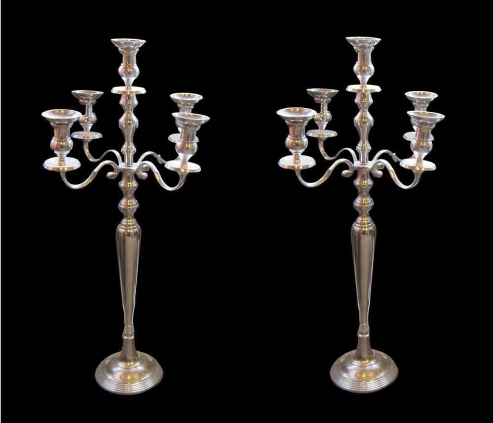 Pair of chrome candelabras
