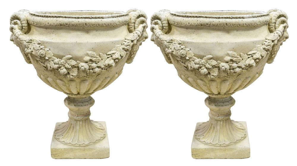 Pair of stone garden vases