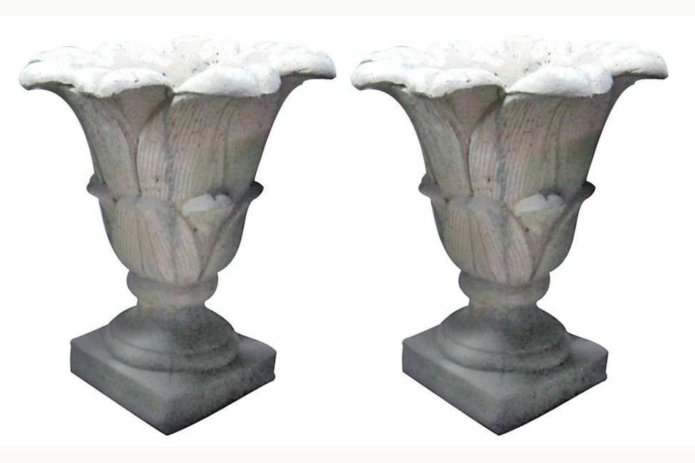 Pair of quartz stone garden vases