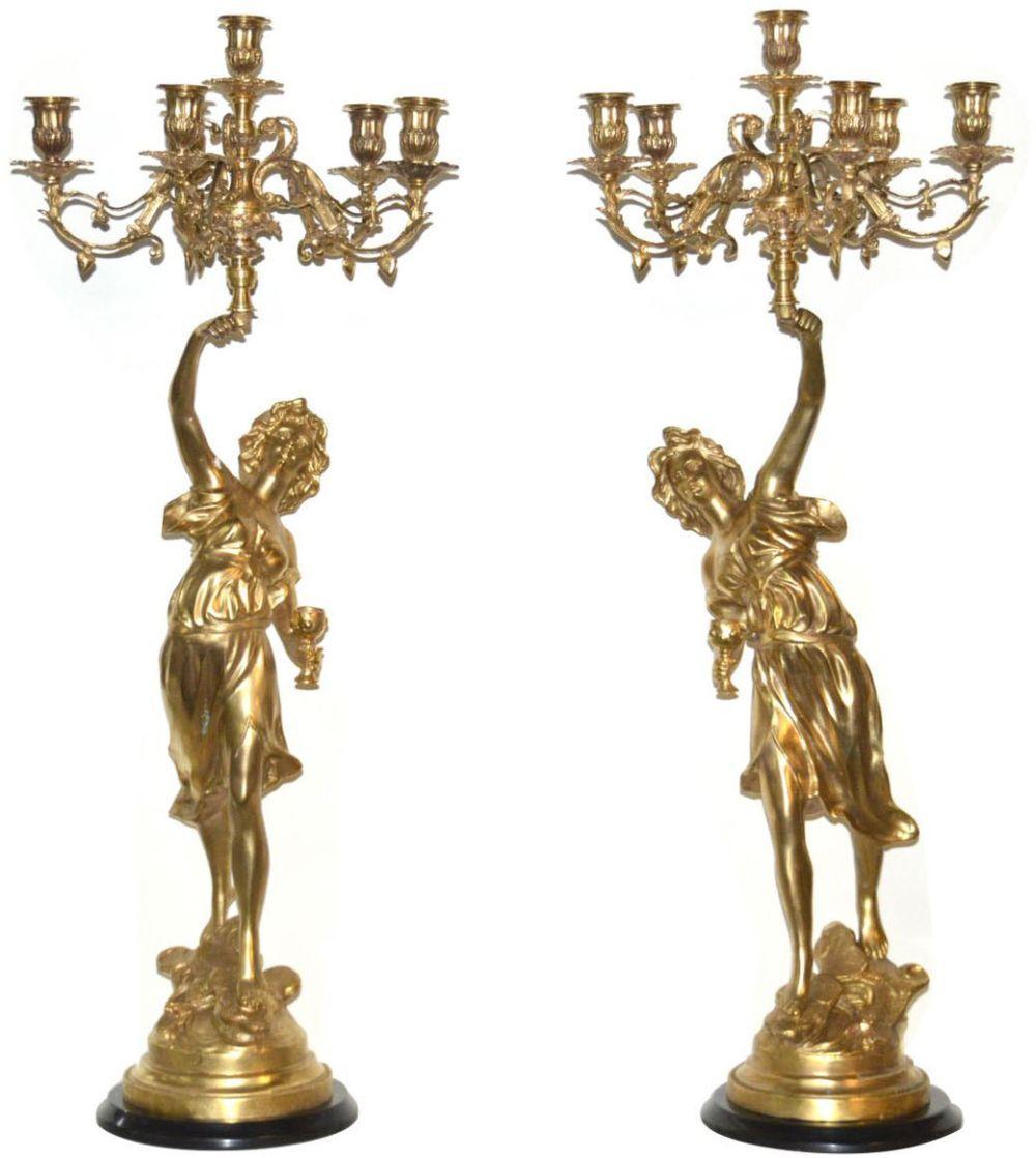 Pair 6-light bronze candelabra