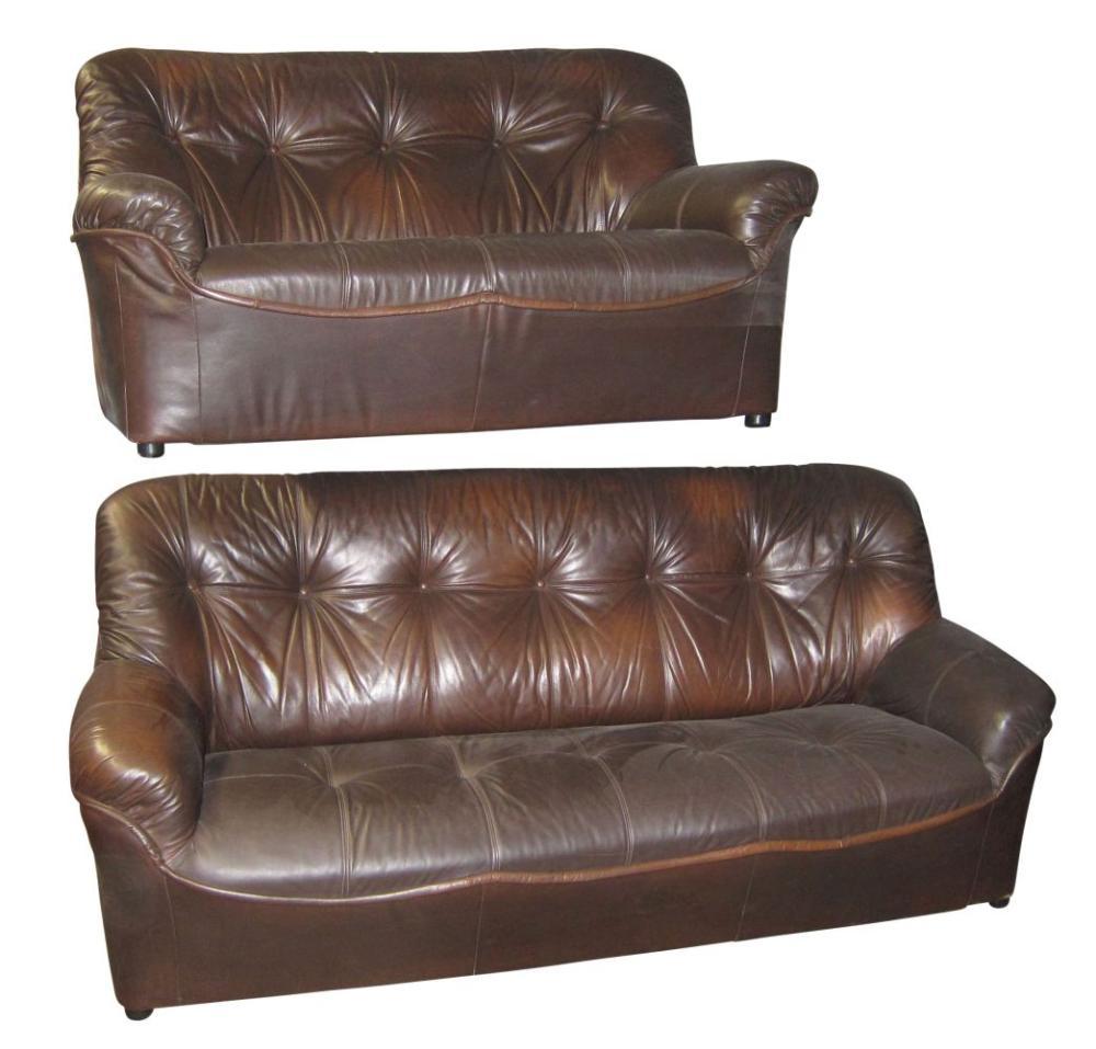 Contemporary brown leather salon set