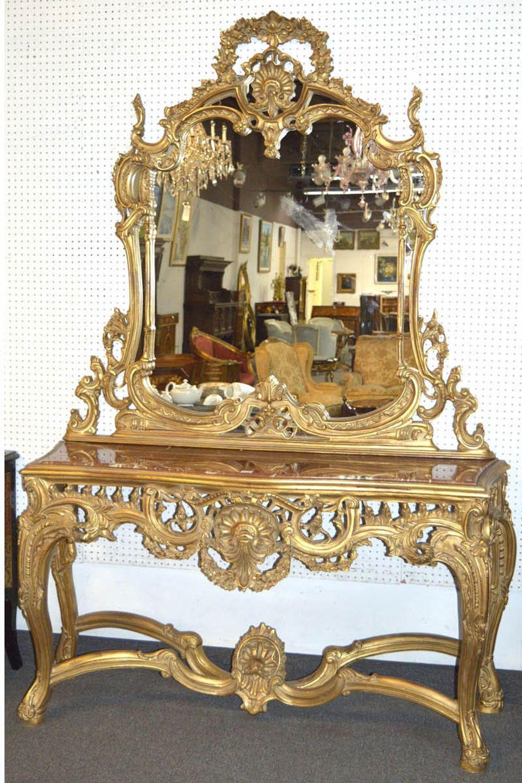 Rococo-style console and mirror