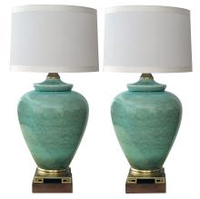 Pair of American celadon crackle-glazed lamps by Marbro
