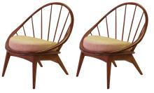 Pair of Danish modern walnut hoop chairs by Ib Kofod-Larsen